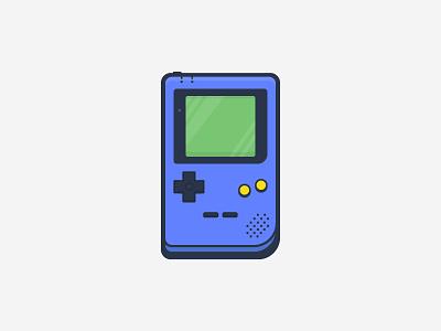 Game Boy Pocket stroke outline illustration vector icon purple game console gameboy game boy pocket