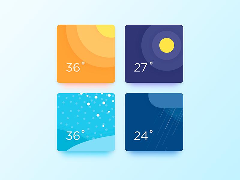 Weather Widget web card flat dailyui illustration widget ux ui weather