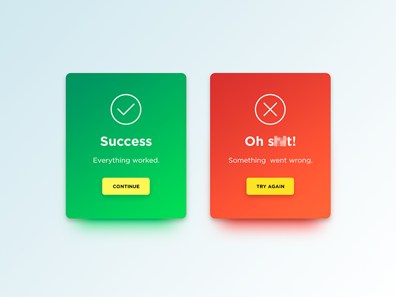 Flash Message dialog popup gradient cards success error message flash dailyui ux ui
