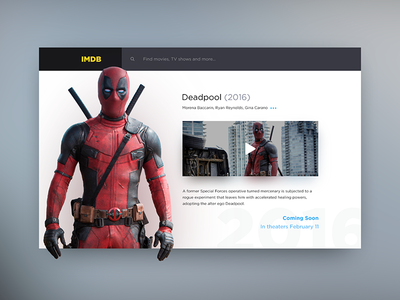 Movie Page shadow dailyui ux ui imdb deadpool movie