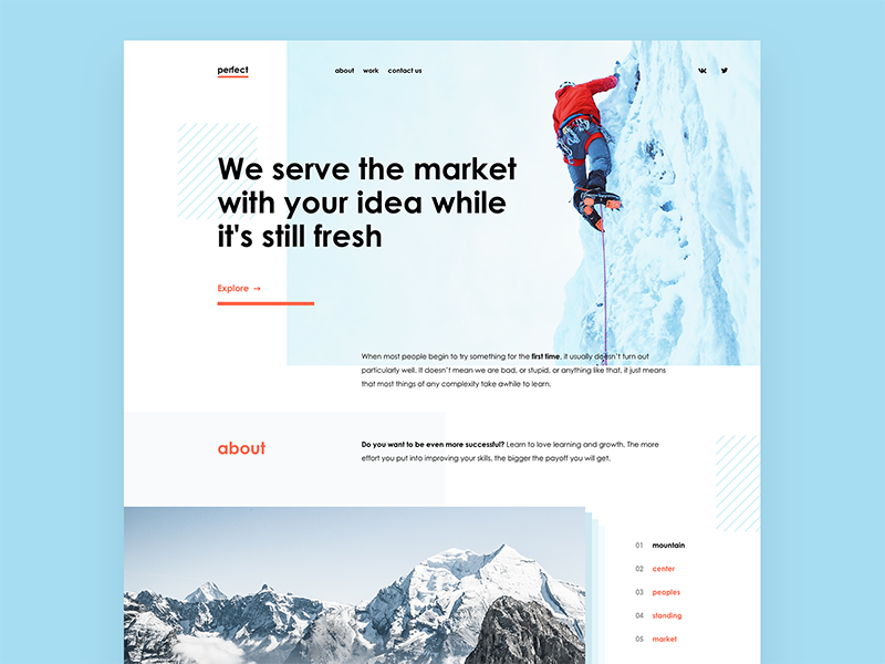 Part of landing page
