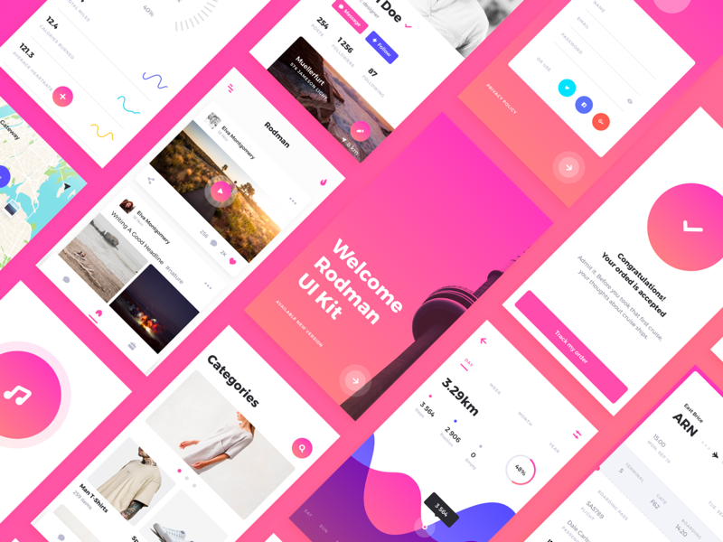 Rodman Mobile UI Kit ux ui sketch app uikit mobile