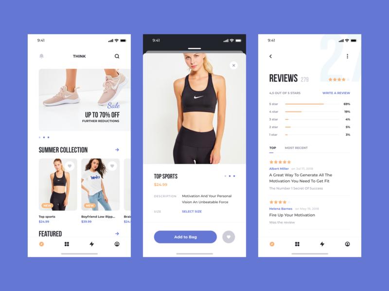 Think UI Kit – Ecommerce card chart ecommerce mobile concept ios app ui kit ux ui