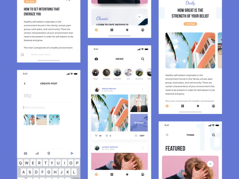 Think UI Kit – Feed interface concept figma adobe xd sketch ios mobile kit ui kit app ui