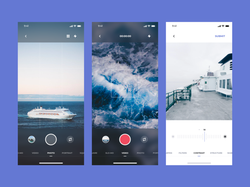 Think UI Kit – Camera App interface ios app kit ui kit filters video camera ux ui