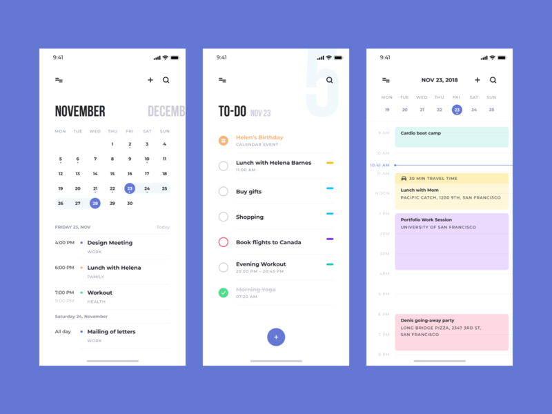 Think UI Kit – Todo App ios app calendar ui kit ui todo list todolist todo checklist checkbox check