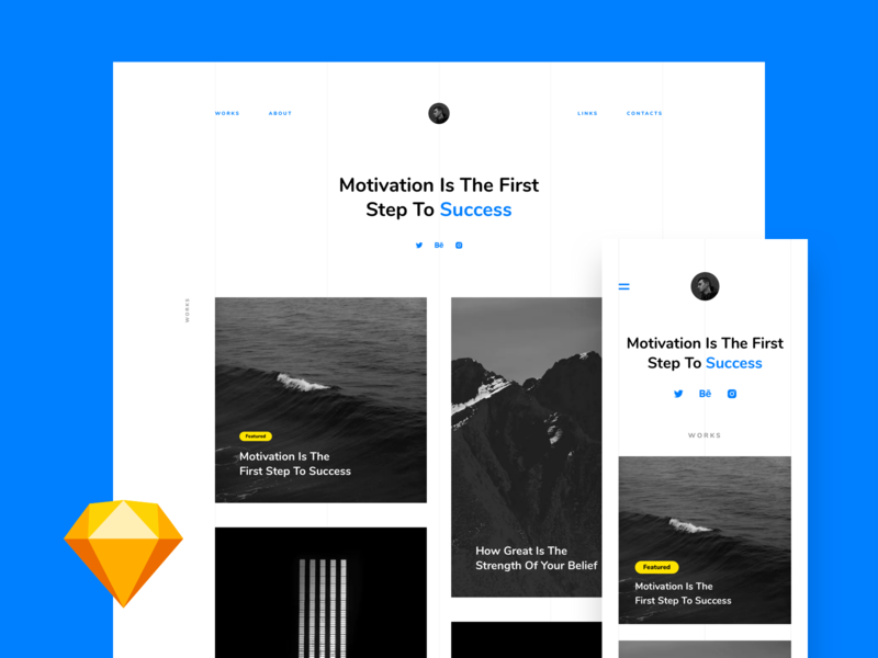 Portfolio – Free Landing page (Sketch) ux ui webdesign business blog freebie free sketch portfolio landing page free template gallery about personal site