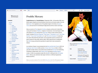 Wikipedia Redesign Challenge freddie mercury article wiki wikipedia flat app website web webdesign ux ui