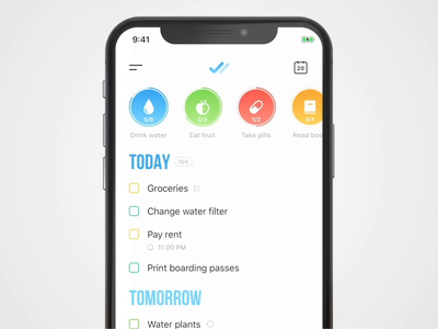 Tappsk – To-do list, habit tracker and reminder checklist list todo habits ios animation app ux ui reminder task manager