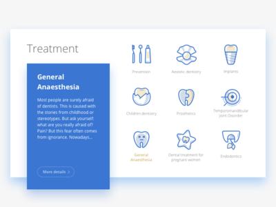 Icons (Dental clinic website redesign) shado icon flat cards blue medicine dentist dental treatment image icons