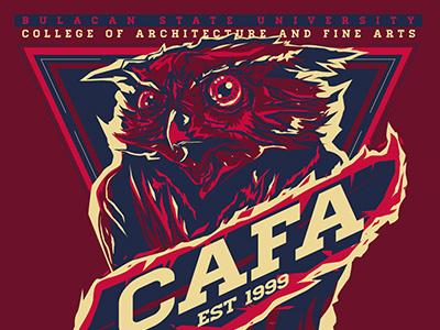 BulSU CAFA Owls Mascot Shirt Design red shirt design shirt maroon mascot cafa owls owl bulsu bulacan state university