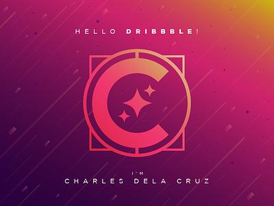 Shoot me with gradients, Dribbble! Hello! logo stars personal branding fuchsia gold yellow studio chakigun chakigun purple pink gradient debut