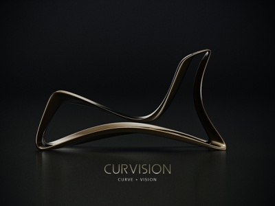 CURVISION  Chair design graphic logotype design logo branding luxery golden gold product productdesign art fakuriandesign curve chair industrial industrialdesign