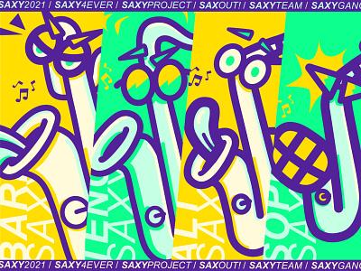 Bari, Tenor, Alt & Sopri typography vector saxophon illustration design cartoon