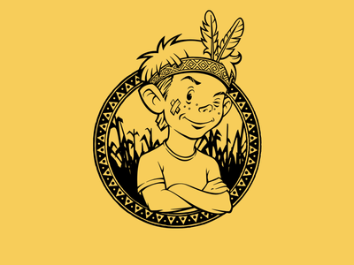 Lucky Makki character mascot brand logo branding identity illustration line boy redskin