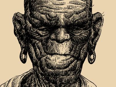 Old chief/Старый вождь comics mascot illustration character drawing graphic oldmen