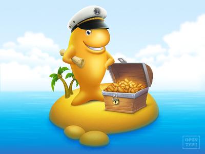 Hidden treasures gold sea island treasures personage character illustration digitalart captain cracker