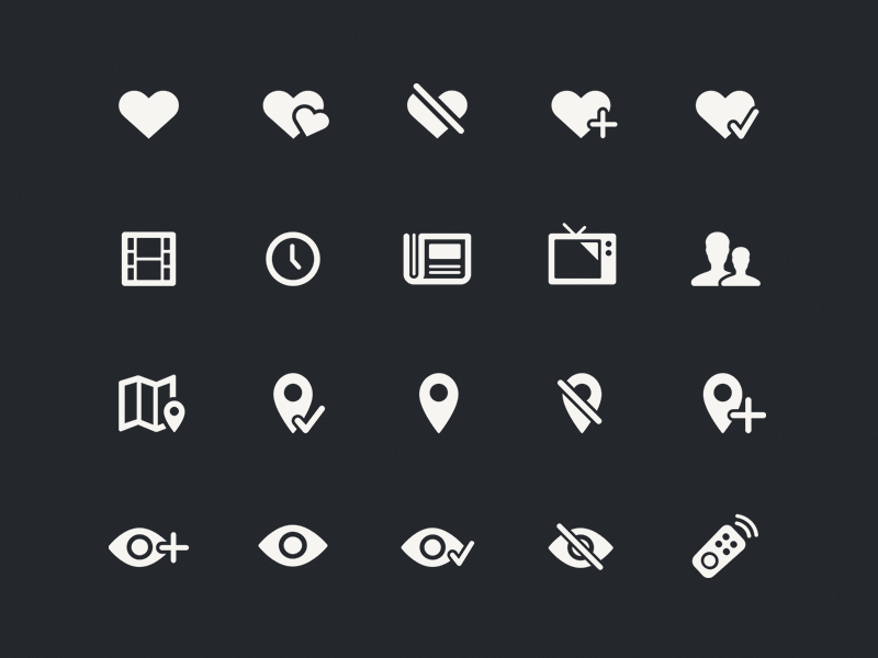 Ciné-Loisirs Icon Set eye watching remote television showtime feeling heart social movie icon iphone ciné-loisirs
