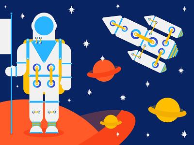Spaceman illustration stars space planets spaceship spaceman