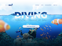 Landing page header for diving school