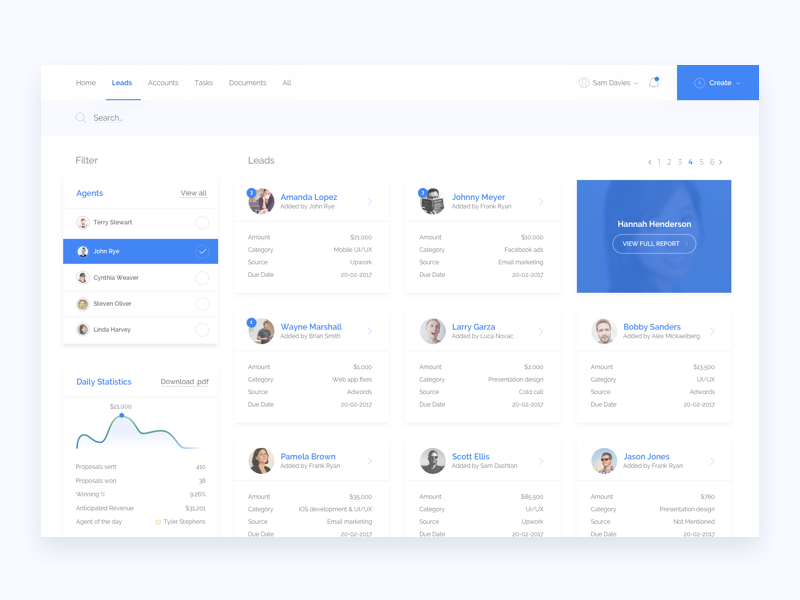 Freelance dashboard - Leads page crm hire flat blue latvia ui minimal leads statistic dashboard