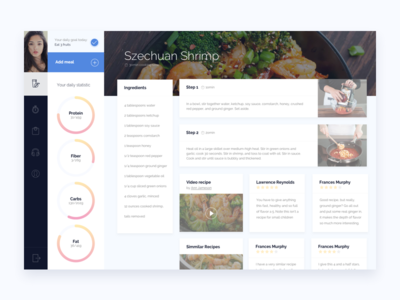 Health Application Recipe Page fitness restaurant flat circle web available hire ux ui food recipe