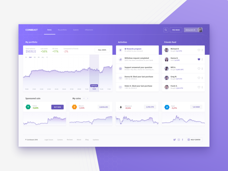 Cryptocurrency dashboard - homepage blockchain coins graph ico dashboard millenials millenial bitcoin crypto cryptocoin ux ui