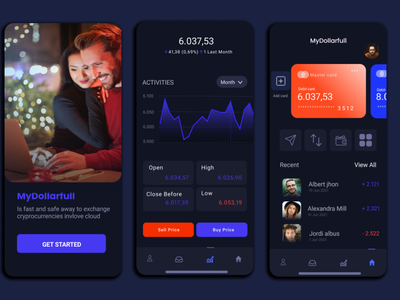 Trading app crypto trading application mobile background blur gradient color ux motion graphics graphic design ui