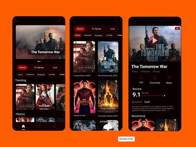 Movie Streaming App app movie streaming app movie branding ux illustration design blur background application vector motion graphics ui graphic design