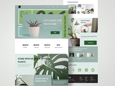 Landingpage : Plant smooth life plants green color illustration logo motion graphics web graphic design application design background blur ux plant animation ui