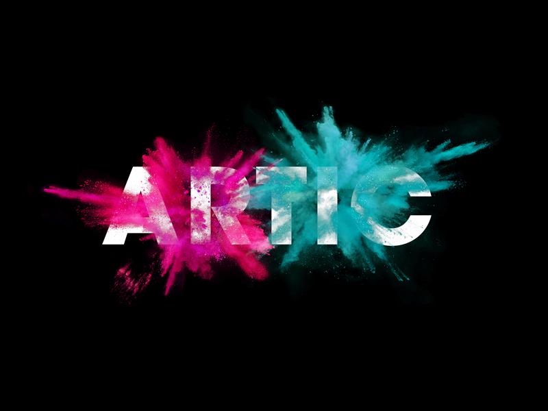 Artic branding explosion logo identity brand dust powder typography abstract art