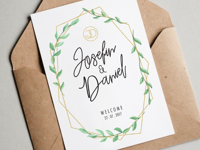 Wedding Invite card typography gold print wedding marriage leaves invite invitation floral ceremony botanical