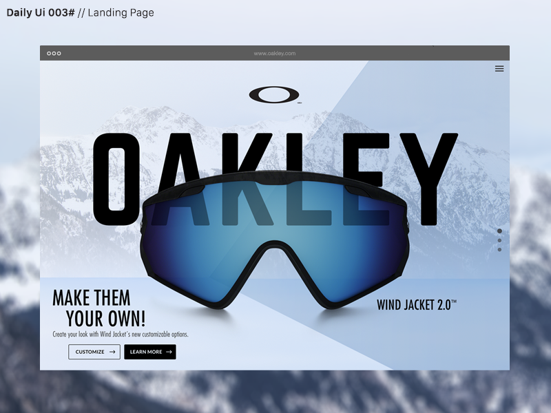 Daily Ui 003# web visual design ux ui oakley dailyui daily challenge webdesign page landing landingpage