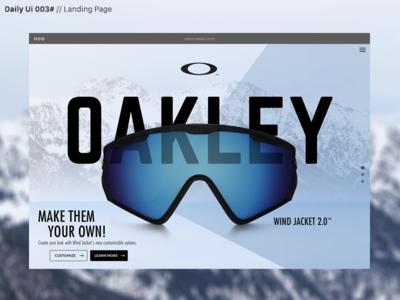 Daily Ui 003# web visual design ux ui oakley dailyui daily challenge webdesign page landing landingpage