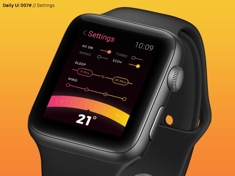 Daily Ui 007# apple watch app dailyui challenge daily ui ux ui watchos settings ac