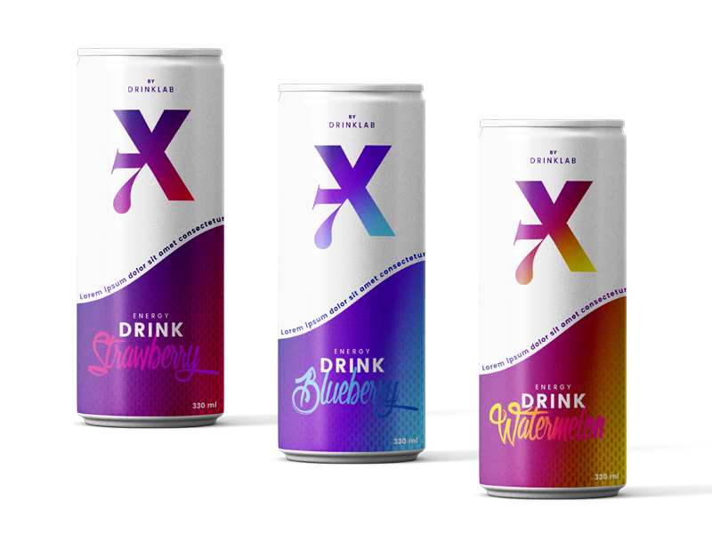 X7 Energy Drink packaging flavours gradient bottle can drink energy