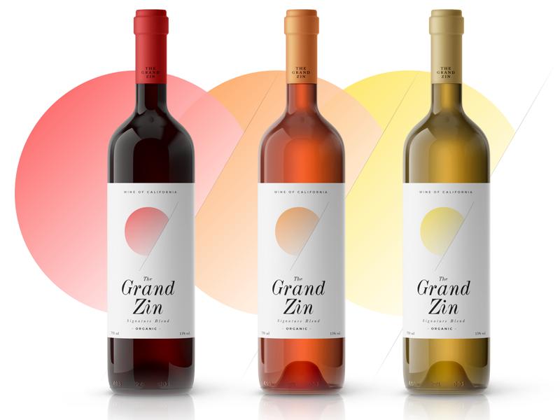 The Grand Zin gradient packaging branding wine label wine label bottle