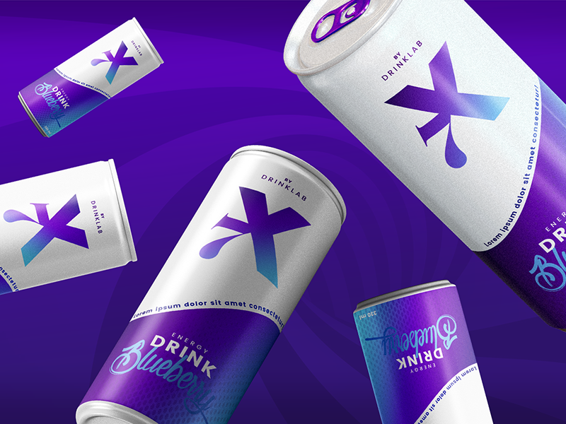 X7 Energy Drink energy drink can bottle gradient flavours packaging