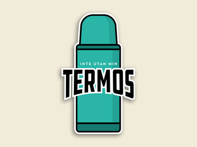 Not without my thermos! club illustration logo badge lineart patch sticker thermos