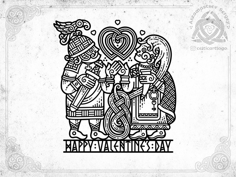 Happy Valentines Day love woman man warior heart vector logo design illustration sketch irish viking knot ornament celtic