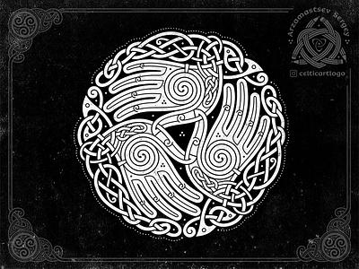 the Oath - triskelion hands knotwork oath music palm palms hand branding design viking irish illustration knotwork logo emblem knot ornament celtic