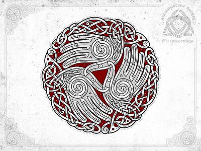 the Oath - triskelion hands knotwork oath music palm palms hand branding logo design illustration knotwork emblem viking knot irish ornament celtic