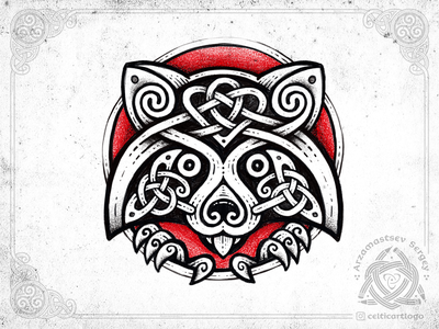 Tvättbjörn sketch procreate raccoon branding design logo emblem animal viking irish knot ornament celtic