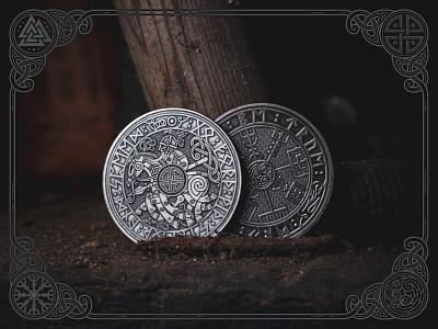 Viking Travel Coins odin vegvísir vikingtravelcoin travel coin design sketch emblem ornament celtic viking