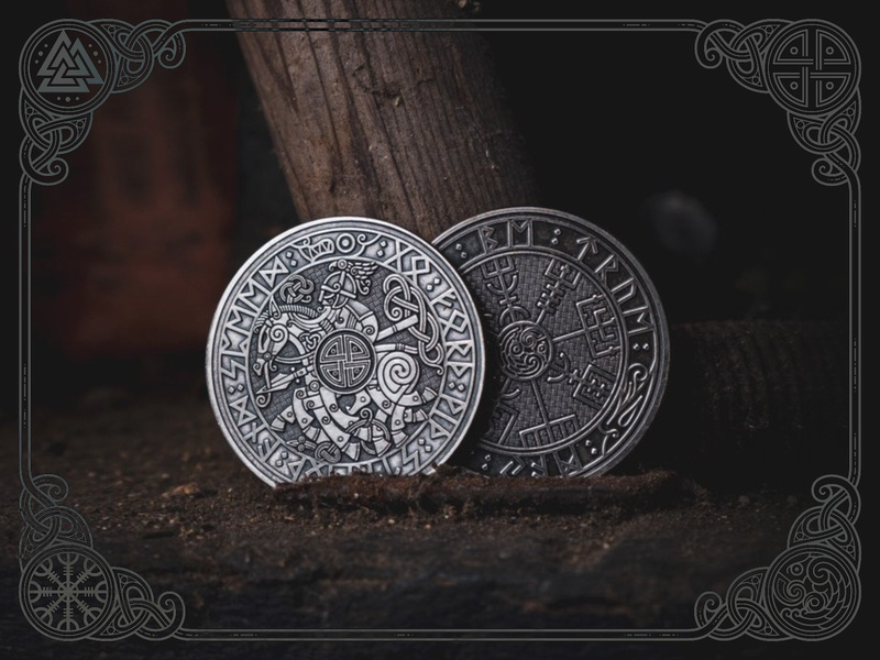 Viking Travel Coins odin vegvísir vikingtravelcoin travel coin design sketch emblem ornament celtic viking