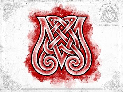 Knotwork letter sketch procreate logo monogram letter dance design illustration sketch knotwork pencil emblem irish knot ornament celtic