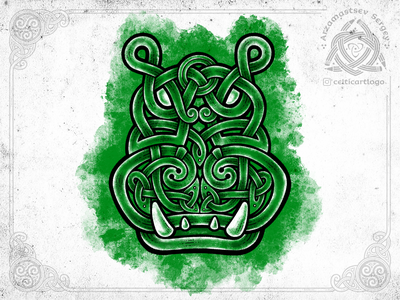 Green hippo hippopotamus green hippo illustration sketch knotwork pencil animal knot ornament celtic