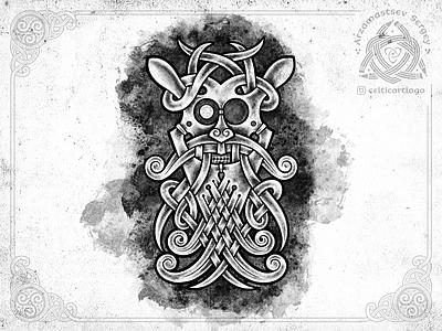 Mask norse norse mythology beard mask irish knot illustration sketch knotwork pencil viking ornament celtic