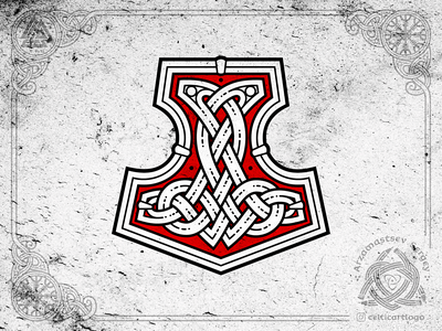 Mjollnir logo nord nordic ornamental ornaments knot knotwork crusher thorhammer hammer norse mythology norse thor emblem viking ornament celtic
