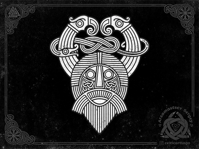 God mask, crows and snake archaeology serpent norse mythology norse vector raven crow bird illustration snake celtic ornament knotwork viking knot